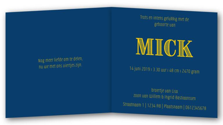 Geboortekaart Mick