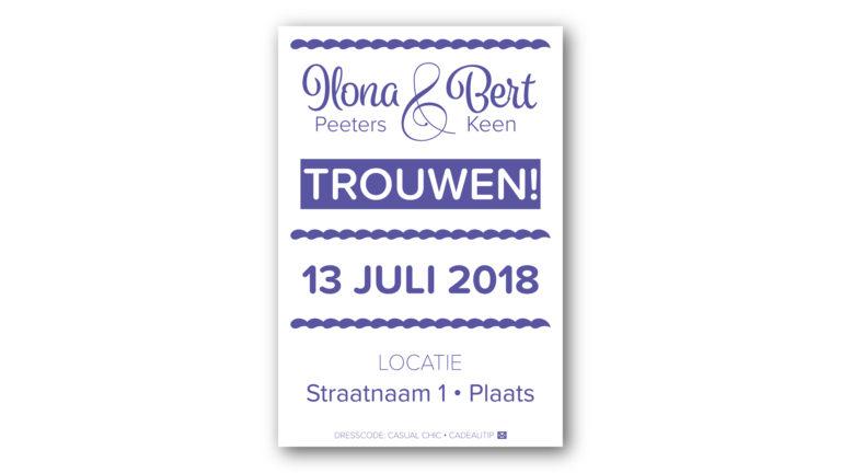 Trouwkaart Ilona en Bert