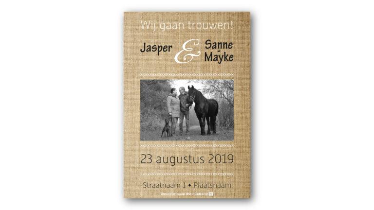 Trouwkaart Jasper en Sanne-Mayke