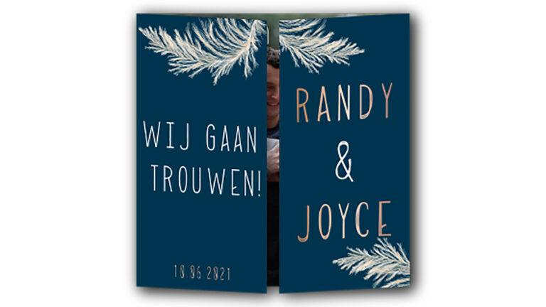 Trouwkaart Randy en Joyce